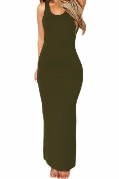 Women's Retro Style Hollowed Back Maxi Jersey Dress - Erbana 88