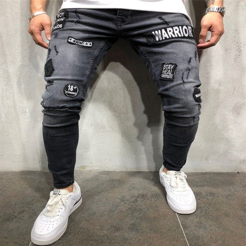 Men's Urban Style Slim Fit Stretch Ripped WARRIOR Jeans w/ Frayed Biker Design - Erbana 88