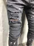Men's Slim Fit Urban Style Ripped Biker Jeans w/ Semi Wash Out Design - Erbana 88