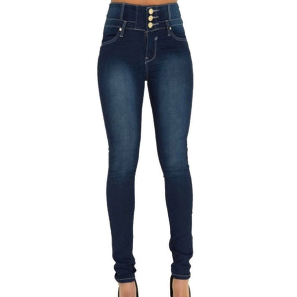 Women's High Waist Elastic Skinny Pencil Jeans
