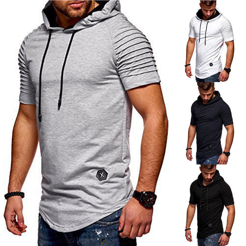 Men's Short Sleeve Urban Style Pullover Hoodie w/ Rippled Sleeve Finish - Erbana 88