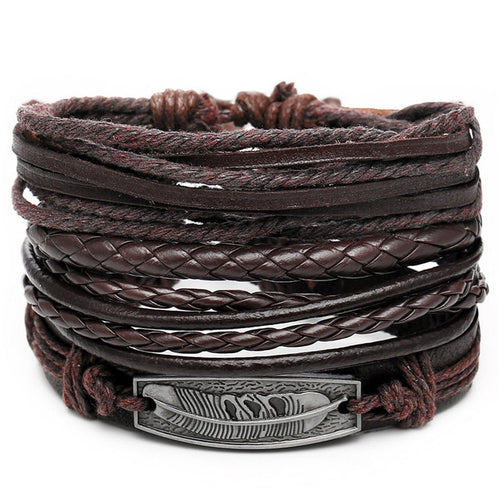 Men's Vintage Style Punk Rock Braided Leather Bracelet - Erbana 88