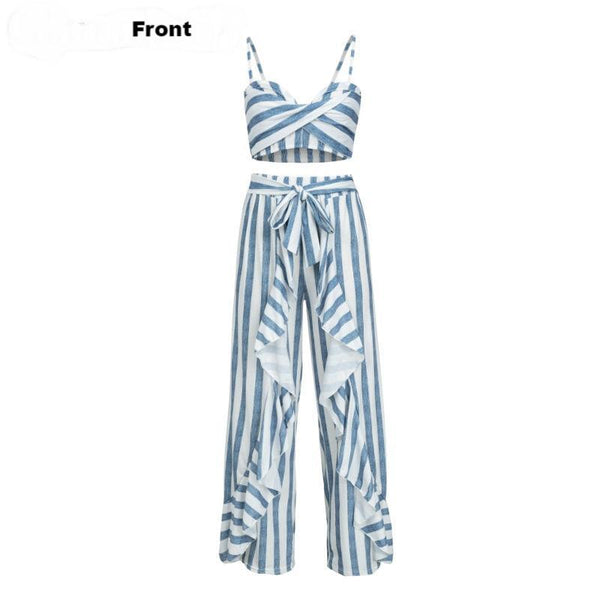 Women's Bohemian Style Two-Piece Jumpsuit w/ Ruffle & Sash Finish - Erbana 88