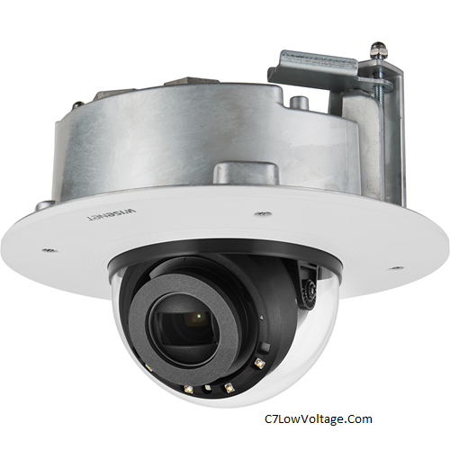 Wisenet XND-6081RF 2MP Flush Mount Indoor Network Vandal Dome Camera , 2.8 ~ 12mm (4.3x) motorized varifocal lens .RJ45 Connection .