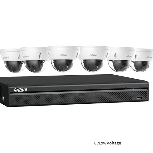 Dahua Technology N588D63S 8-Channel 4K NVR kit with 3TB HDD and 6 x 8MP Network Dome Cameras.