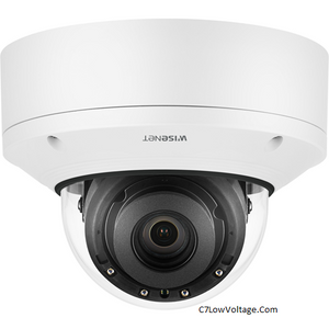 Wisenet XND-8081RV 5MP Vandal-Resistant Indoor IR Network Dome Camera , 3.6~9.4mm 2.6x motorized varifocal lens , RJ45 Connection .