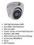 HIKVISION DS-2CE56H5T-ITME 6MM 5MP Outdoor Ultra-Low Light PoC Analog Turret Dome Camera with 6 mm Fixed Focal Lens, BNC Connection