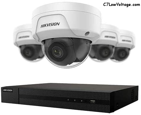 HIKVISION EKI-K41D44 4-Channel 4K NVR Value Express Kit with (4) 4MP Outdoor Network Dome Camera (2.8 mm Fixed Lens), RJ45 Connections