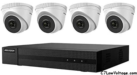 HIKVISION EKI-Q41T24 4-Channel 4K POE NVR Value Express Kit with (4) ECI -T22F2 2MP IR Outdoor Network Turret Camera, (2.8 mm Fixed Lens), 1TB HDD included, RJ45 Connections