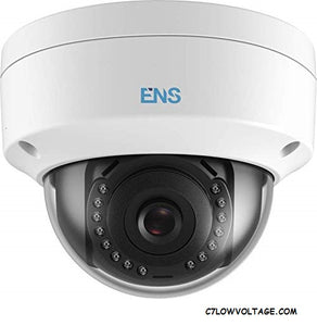 ENS SIP34D3/28-C 4MP IR WDR PoE Network Dome Camera with 2.8mm Lens, RJ45 Connection.
