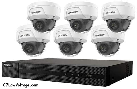 HIKVISION EKI-K82D46 8-Channel 4K POE NVR Value Express Kit with (6) 4MP Outdoor Network Dome Camera, (2.8 mm Fixed Lens), RJ45 Connections