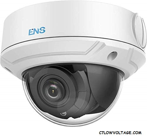 ENS SIP34D3/MZ-C 4MP IR True WDR 3D DNR PoE Network Outdoor Dome Camera with 2.8-12mm Lens, RJ45 Connection