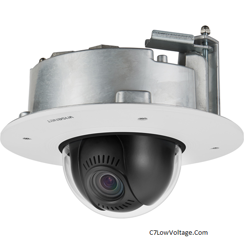 Wisenet  XND-8081FZ  5MP Flush Mount Network Indoor Dome PTRZ Camera , 3.6~9.4mm (2.6x) motorized varifocal lens, RJ45 connection .