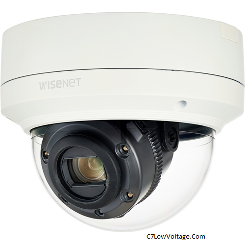 Wisenet XNV-6120R/LPR Low Speed LPR Outdoor IR Network Outdoor 2MP Vandal Dome Camera , 12X optical zoom (5.2 ~ 62.4mm) (54.58º ~ 5.30º), RJ45 Connection