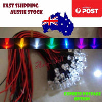 10pcs 3mm 12V Wired LEDs White Blue Green UV Red Yellow Pink Cables Orange LED
