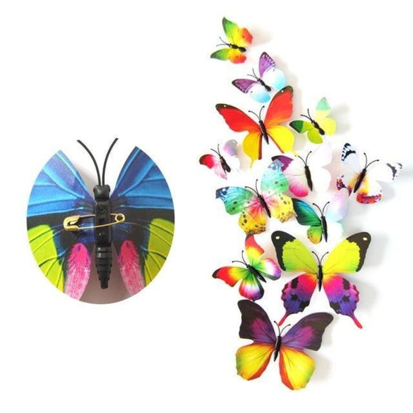 12pcs PVC 3D Butterfly Wall Fridge Decorations Butterflies Art Magnet Pin | Clasp pin 5 | Asia Sell
