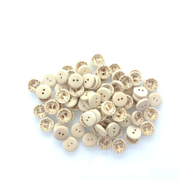 15/20/25Mm Its A Girl/boy Wooden Button Natural Wood Sewing Baby Clothing Buttons