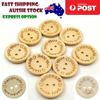 25pcs Wooden Buttons 2-Holes Handmade with Love Round Button Handmade Clothes