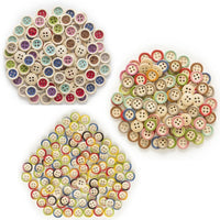50pcs Wooden Buttons 4 Hole 15mm Multicoloured Round Clothing Sewing Colourful