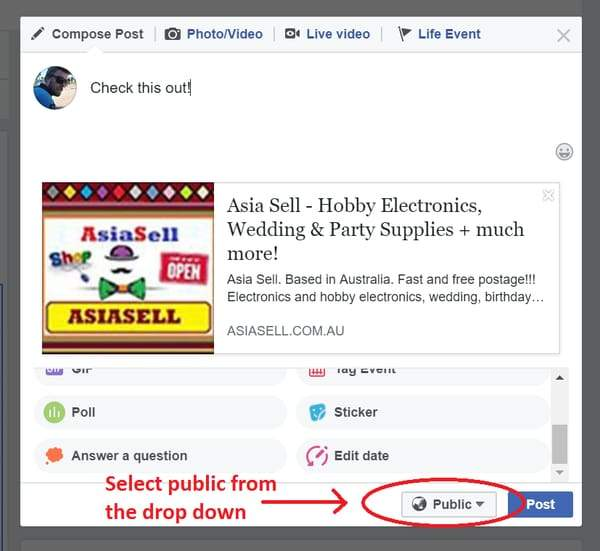 How to promote Asia Sell on Facebook