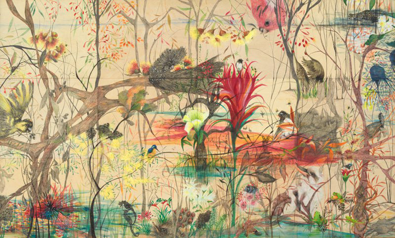 Julianne Ross Allcorn Thesaurium insula (treasured island) pencil, watercolour, charcoal, chalk pastel and acrylic on 12 boards 122.1 x 203.5 cm