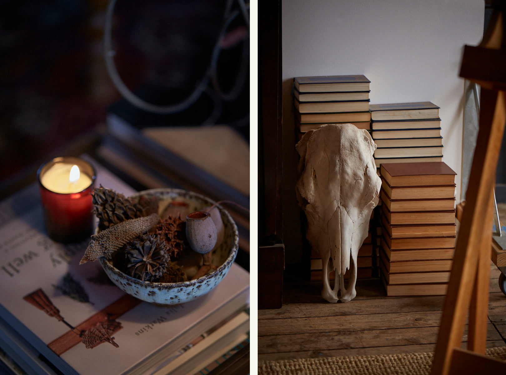 A scented candle sits next to a rustic bowl of natural seedpods. A horses skull is propped against vintage books.