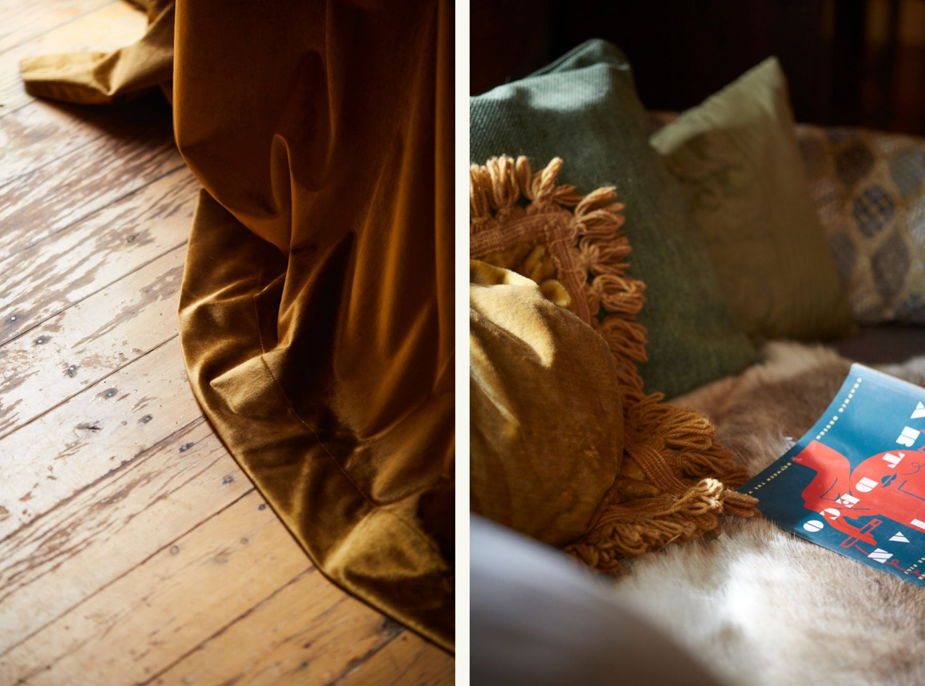 Details of velvet soft furnishings and books in a vintage interior