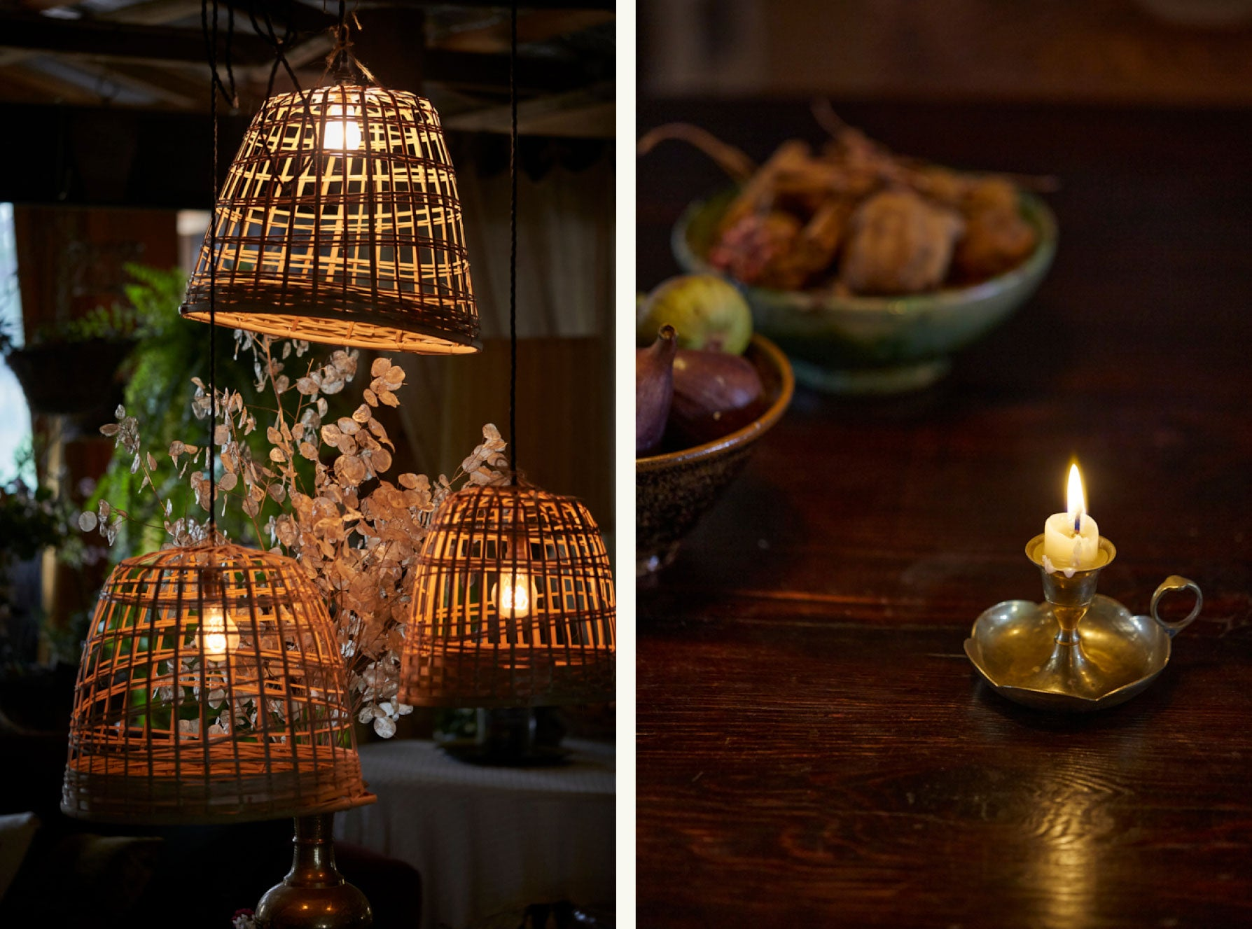 Cane lamp shades and candles in a vintage interior
