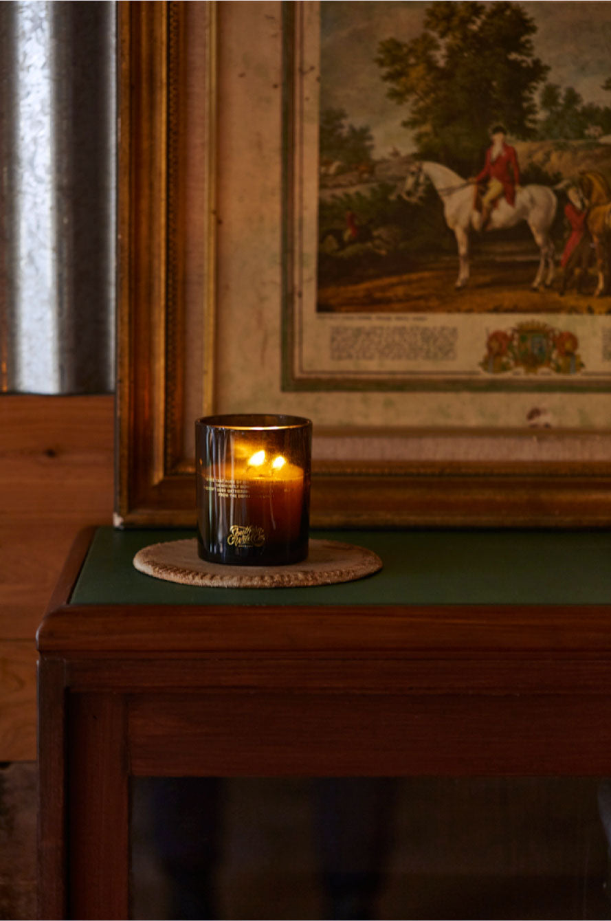 Southern Wild Co scented candles on an antique bookcase with vintage print