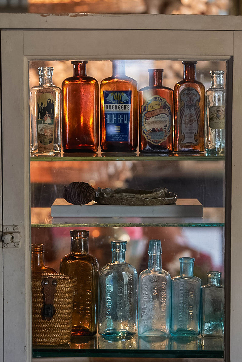 A collection of antique bottles