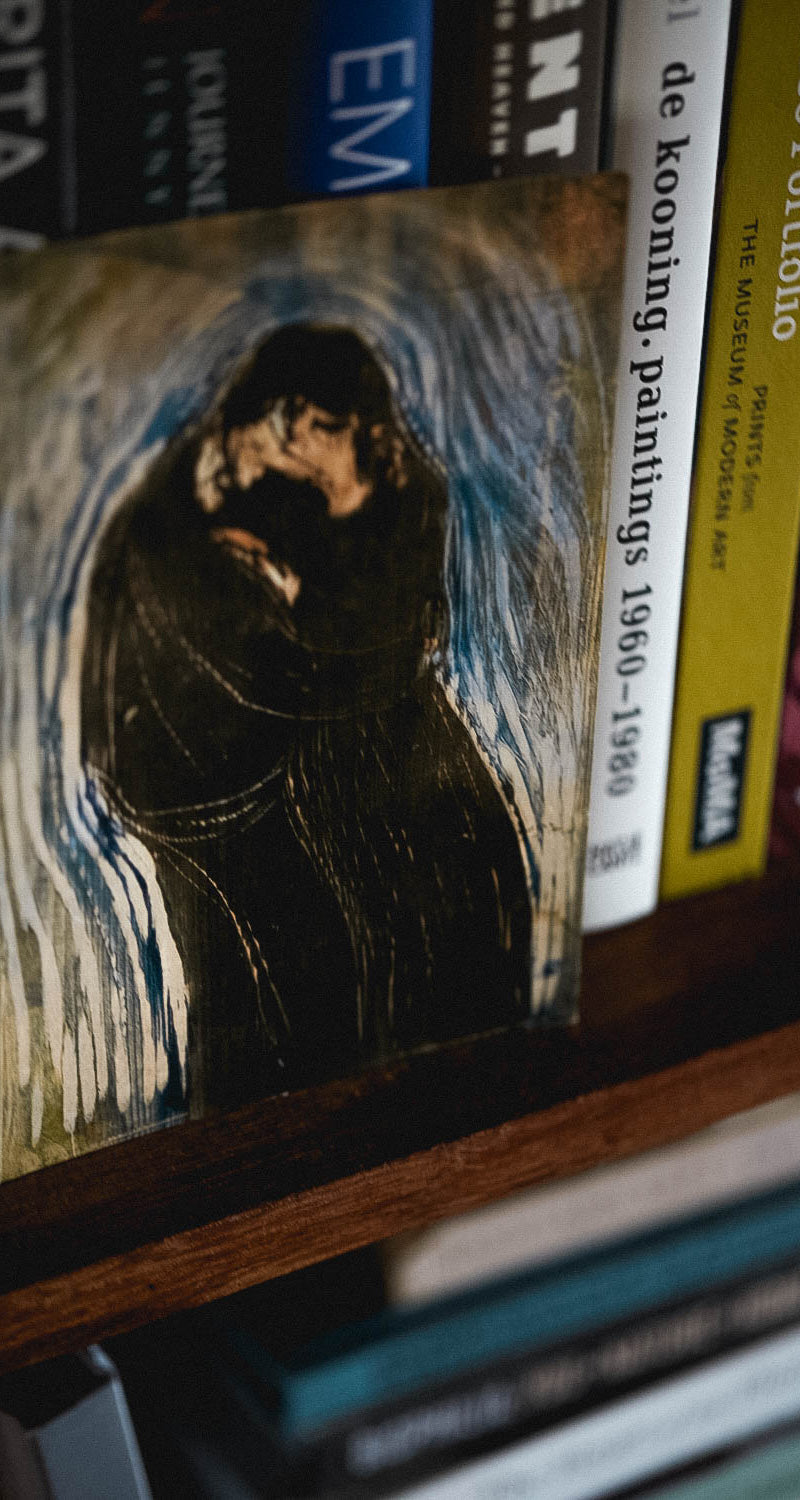 A postcard with an image by Norwegion artist Edvard Munch