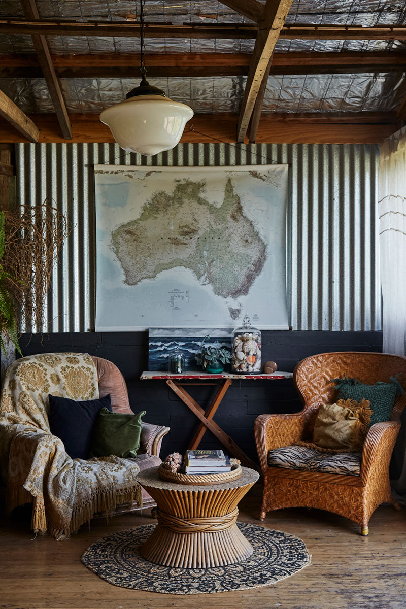 Vintage interior at Australian candle brand, Southern Wild Co's Shedquarters