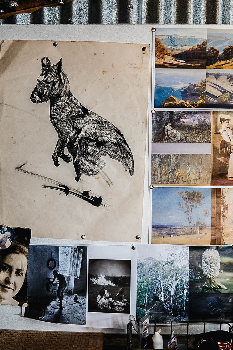 A mood board featuring a pen and ink drawing of kangaroo and photographs of Australian impressionist paintings
