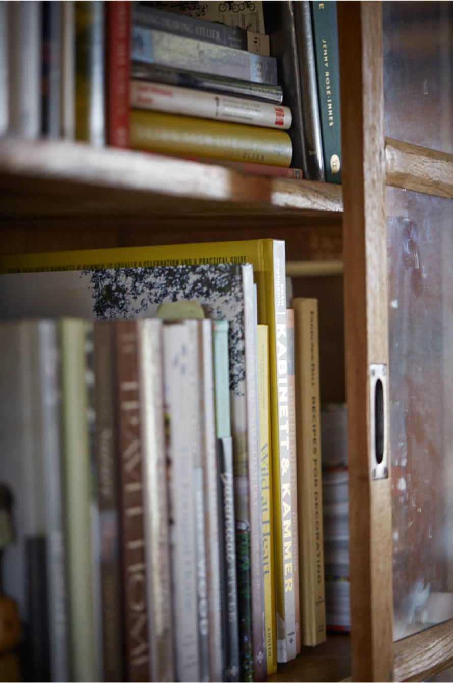 A collection of books in a home library