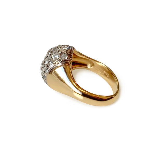 Vintage 1950s 14k Yellow Gold, White Gold & Diamond Disco Ball Ring