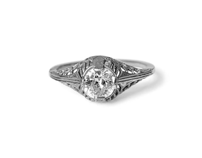 Antique Edwardian 18k White Gold & Diamond Solitaire