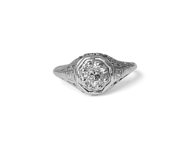 Vintage 14k White Gold & Diamond Solitaire