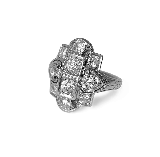Vintage Platinum & Diamond Art Deco Art Nouveau Ring