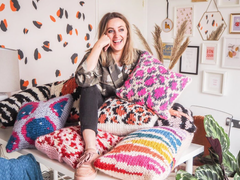 Lauren Aston Designs, cushions, leopard print, sprites, knitted