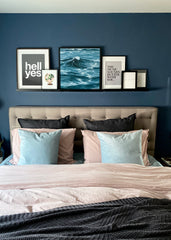 Relaxing pink and blue bedroom