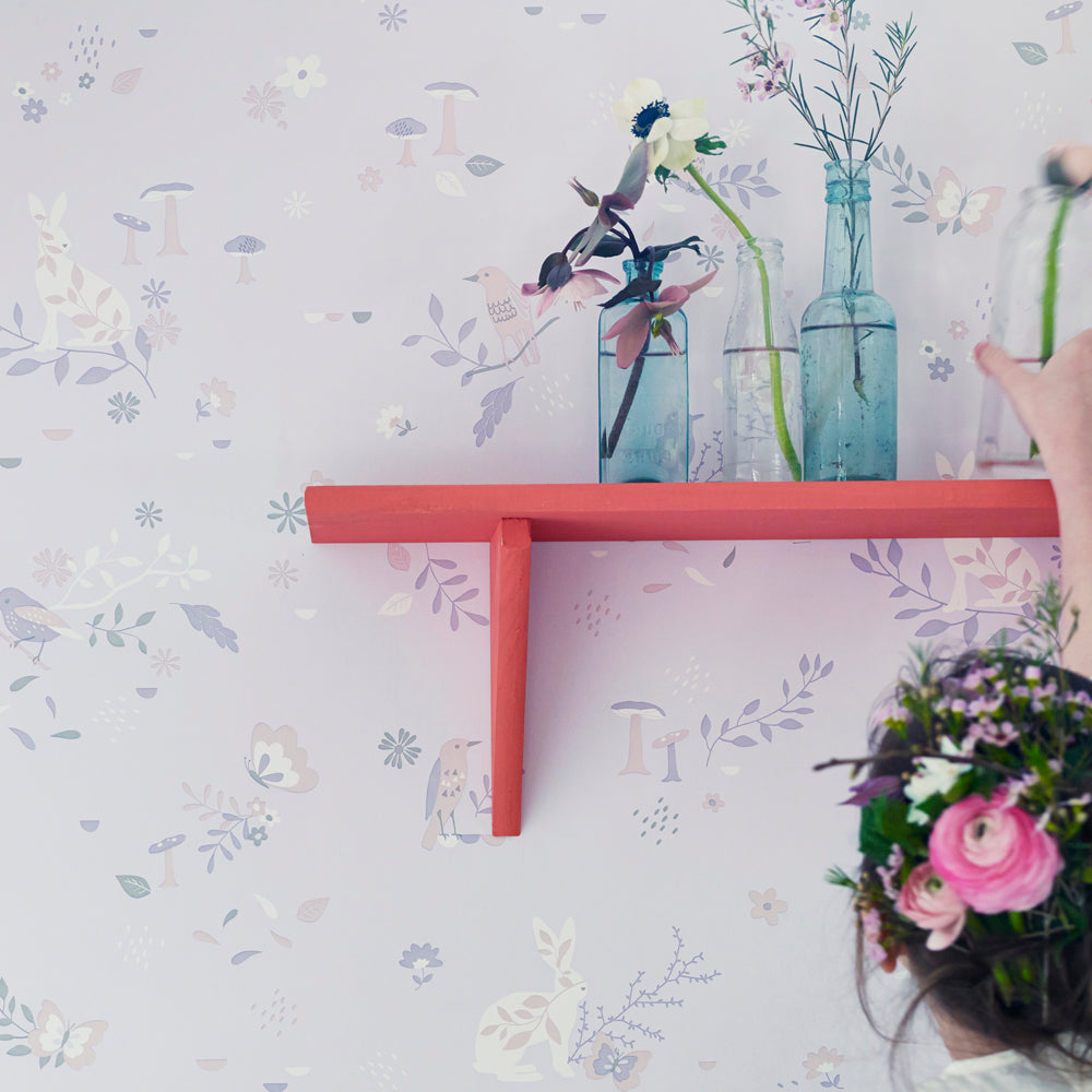 Hibou Secret Garden Wallpaper, Blush Pink