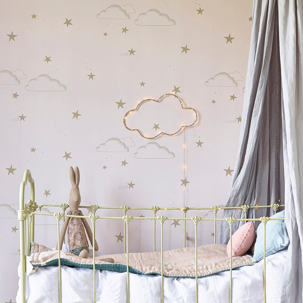 Hibou Starry Sky Wallpaper, Pale Rose/Gold