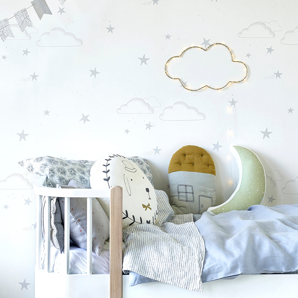Hibou Starry Sky Wallpaper, Silver/White