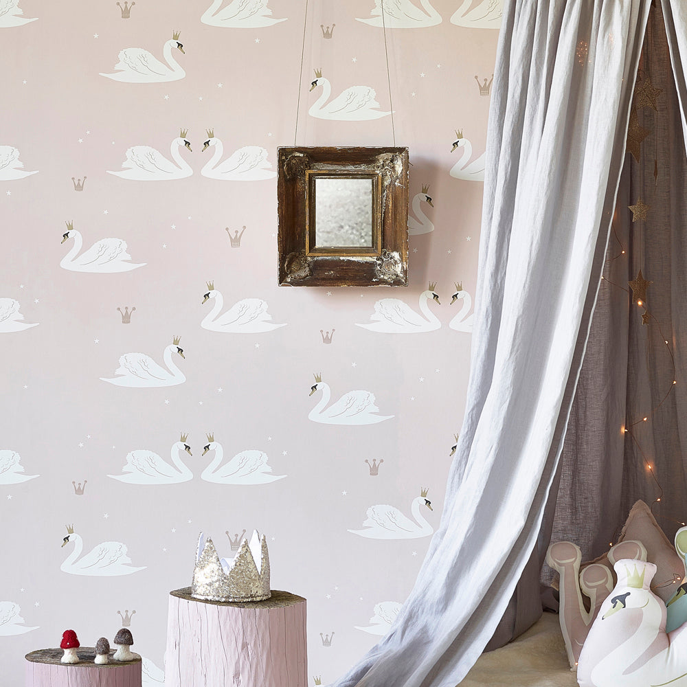 Hibou Swans Wallpaper, Pale Rose