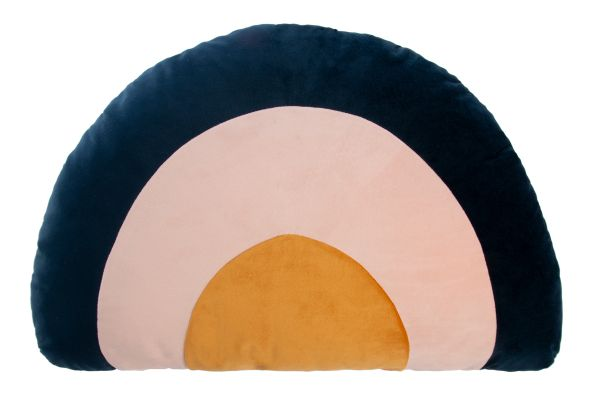 Rainbow Velvet Cushion, Night Blue