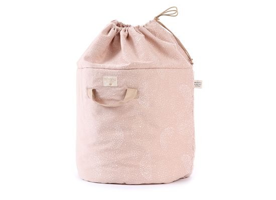 Nobodinoz Bamboo Small Toy Bag, White Bubbles/Misty Pink