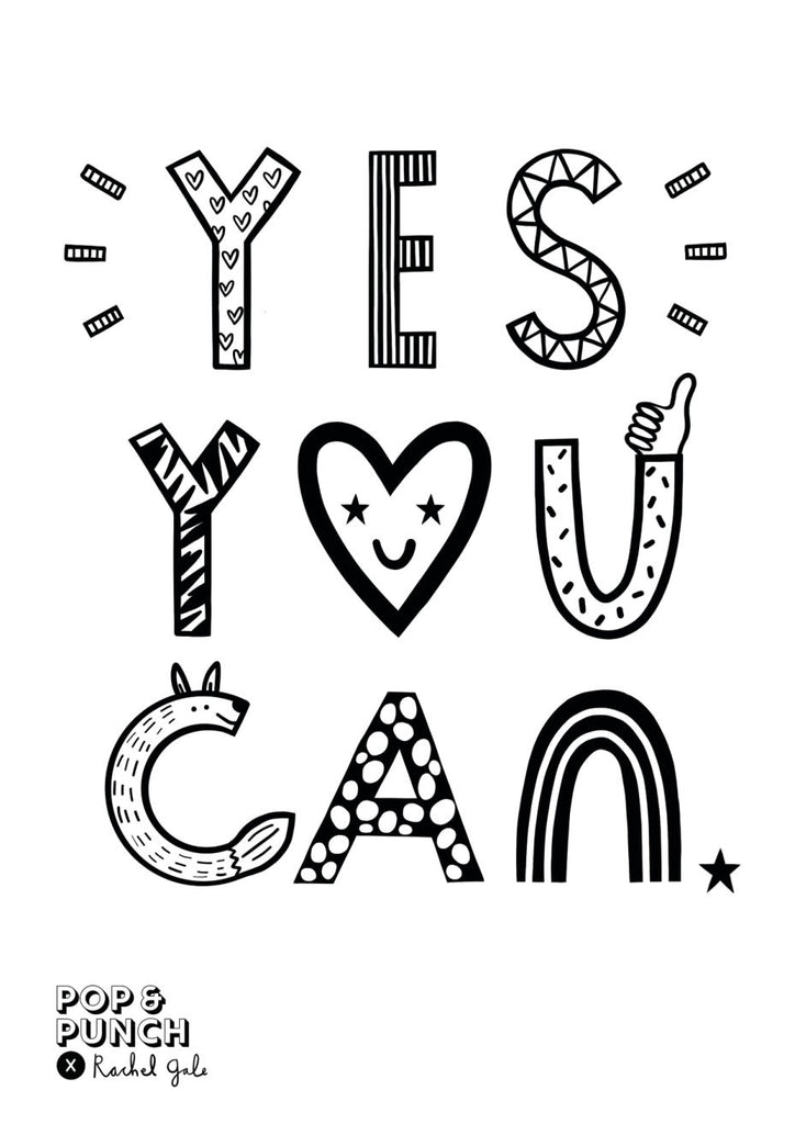 'Yes You Can' Colour Me In Print