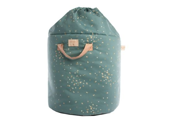 Nobodinoz Bamboo Small Toy Bag, Gold Confetti/Magic Green