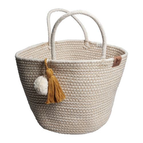 Rope Basket with tassel, Ochre
