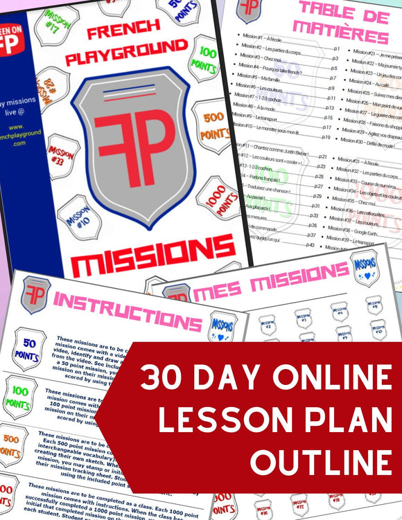 30 Day Online Lesson Plan Outline for the French Playground Missions - FREE DOWNLOAD